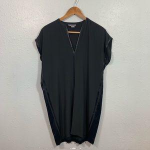 VINCE Satin Silk Black Short Sleeve Dress Size S